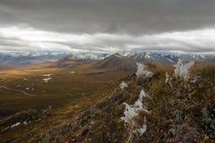 Vinterinställningar över den Dempster huvudvägen, norr Yukon, Kanada royaltyfri foto