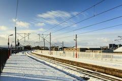 Vinterjärnvägplats Arkivbild