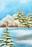 Vinterjul Forest Landscape Royaltyfri Foto