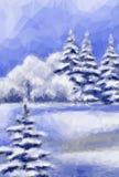 Vinterjul Forest Landscape Royaltyfri Fotografi