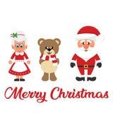 Vinterjul uthärdar med halsduken och Santa Claus och tecknad filmmrs santa och jultext royaltyfri illustrationer