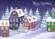 Vinterjulen landskap med snöig hus Royaltyfria Bilder