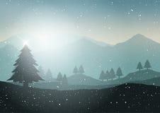 Vinterjulgranlandskap vektor illustrationer