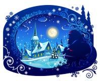 Vinterjulnatt Royaltyfri Fotografi