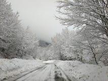 Vinterkörning: farlig bergväg med snö Sikt av Passo Godi i Abruzzo, Italien Royaltyfri Foto