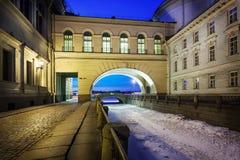 Vinterkanal St Petersburg Ryssland Fotografering för Bildbyråer