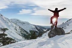 Vinterklättring och framgång royaltyfri fotografi
