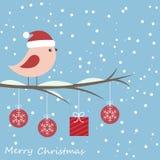 Vinterkort med den gulliga fågeln Arkivbild