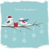 Vinterkort med gulliga fåglar Royaltyfri Fotografi
