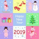 Vinterkort med gulliga svin, julgranen och gåvor Lyckligt nytt år 2019 också vektor för coreldrawillustration royaltyfri illustrationer