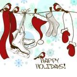 Vinterkort med skridskor och jultomten kläder vektor illustrationer