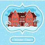 Vinterkortdesign med huset och träd Fotografering för Bildbyråer