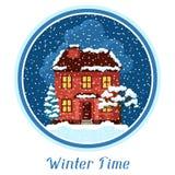 Vinterkortdesign med huset och träd Royaltyfri Fotografi