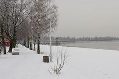 Vinterkust av Pogoria sjön arkivfoto
