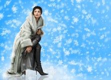 vinterkvinna Fotografering för Bildbyråer