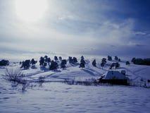 Vinterland i Serbie Royaltyfria Bilder