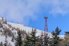 Vinterlandskap över Carpathian berg Panorama av snömou Arkivfoton