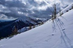 Vinterlandskap av berg Arkivbild
