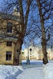 Vinterlandskap av den Pavlovsk trädgården och slotten Royaltyfri Bild