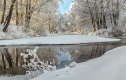 Vinterlandskap av dentäckte fält, träd och floden i den tidiga dimmiga morgonen Arkivfoto