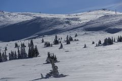 Vinterlandskap av det Vitosha berget, Sofia City Region, Bulgarien arkivfoton