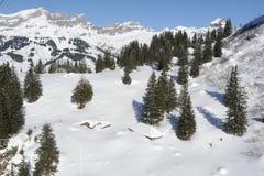 Vinterlandskap av Engelberg Arkivfoto