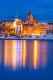 Vinterlandskap av Grudziadz på Vistula River Royaltyfri Fotografi