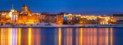 Vinterlandskap av Grudziadz på Vistula River Royaltyfria Foton