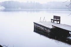 Vinterlandskap av härliga Heinola, Finland Arkivfoton