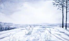 Vinterlandskap av skogen och det snöig fältet Hand dragen vattenfärgillustration royaltyfri illustrationer