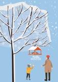 Vinterlandskap, fågelförlagematare med matning, fåglar, farsa med sonställningen nära ett träd som täckas med snö, vektor, illust royaltyfri illustrationer