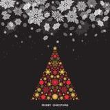 Vinterlandskap för nytt år med Xmas-trädet och snöfall Fotografering för Bildbyråer