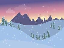 Vinterlandskap för vykortet in i plan stil Royaltyfri Bild