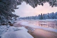 Vinterlandskap från den finlandssvenska naturen Arkivbild