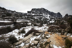 Vinterlandskap i bergen Fotografering för Bildbyråer