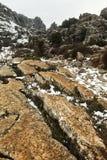 Vinterlandskap i bergen Arkivfoto