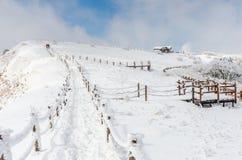 Vinterlandskap i bergen med den fallande snö och fotvandraren Arkivbilder