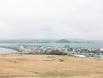 Vinterlandskap i den Jeju ön Arkivbild