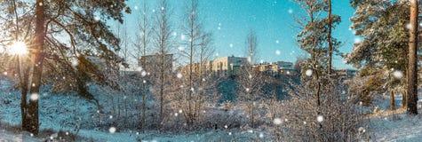 Vinterlandskap i den stads- byn Panorama- vintersikt Panorama- jullandskap Royaltyfri Foto