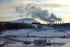 Vinterlandskap i en megacity Arkivfoton