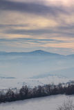 Vinterlandskap i Novi Pazar, Serbien Royaltyfri Bild