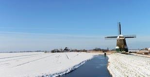 Vinterlandskap i Volendam Royaltyfria Bilder