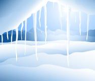 Vinterlandskap (istappen) - vektor illustrationer