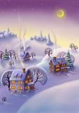 Vinterlandskap, julbakgrund Royaltyfri Fotografi