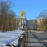 Vinterlandskap med den Catherine slotten Arkivfoto
