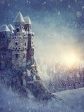 Vinterlandskap med den gamla slotten stock illustrationer