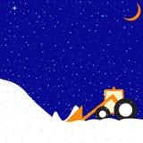 Vinterlandskap med den lilla roliga traktoren Fotografering för Bildbyråer