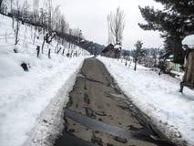 Vinterlandskap med den snöig vägen Arkivbilder