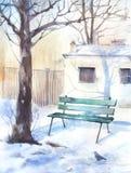 Vinterlandskap med en bänk Fotografering för Bildbyråer