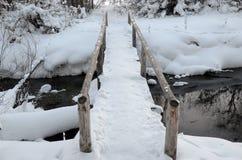 Vinterlandskap med en brige över ström Fotografering för Bildbyråer